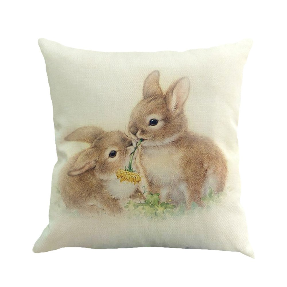 Throw Pillow Cases, E-Scenery Clearance Sale! Easter Bunny Square Decorative Throw Pillow Covers Cushion Cases for Sofa Bedroom Car Home Decor, 18 x 18 Inch (C)