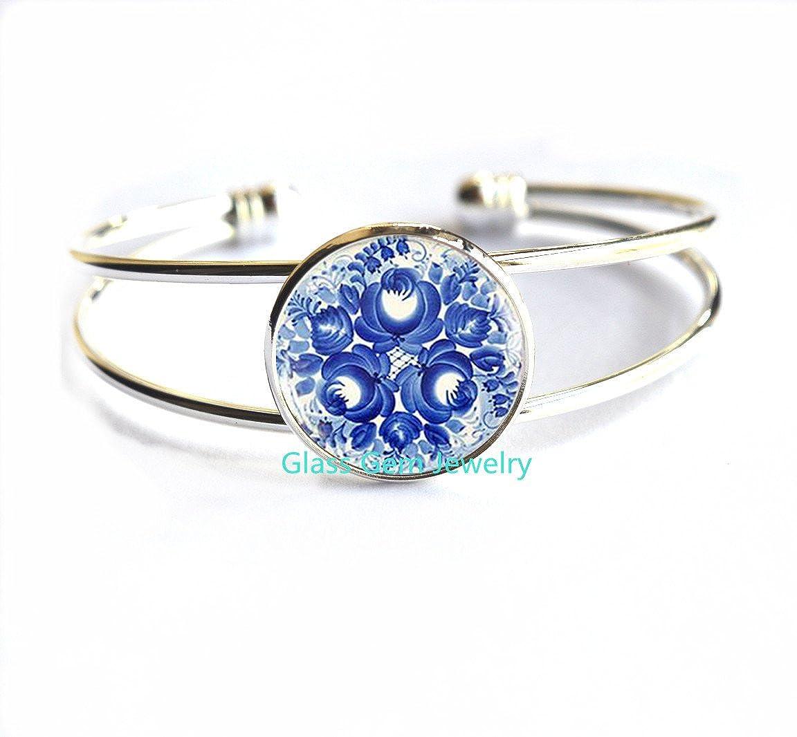 Amazon.com: Gzhel pulseras, Azul ruso impresión pulsera ...