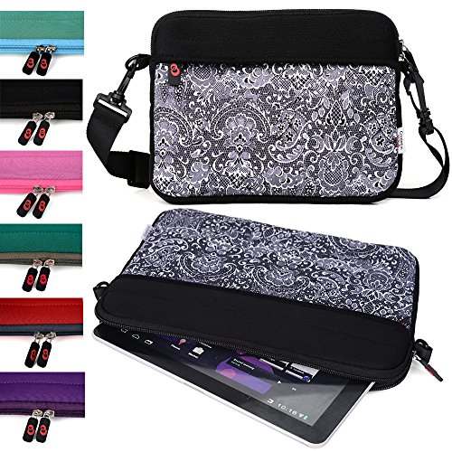 "Kroo College Mini Bag for Girls and Boys fits Polaroid 9-inch, S9, Ematic 10"" Genesis Prime XL Tablet (Comfort Black Paisley Print Universal Case) -  EnvyDeal, ND11S2K1