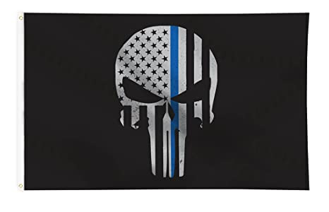 c956a1dcba3 Amazon.com   Thin Blue Line Skull Flag - 3 x 5 ft with Grommets ...