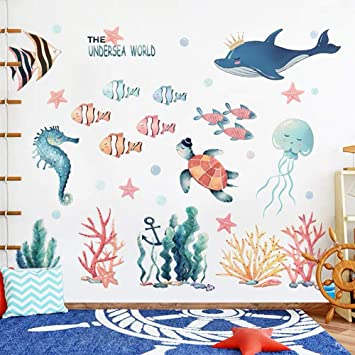 Wandsticker4u Xxl Aquarelle Wandtattoo Unterwasserwelt I Wandbilder 141x118 Cm I Fische Ozean Meer Wal See Pferdchen Schildkrote Maritim Fliesen Aufkleber I Wand Deko Kinderzimmer Kinder Bad Gross Amazon De Baumarkt