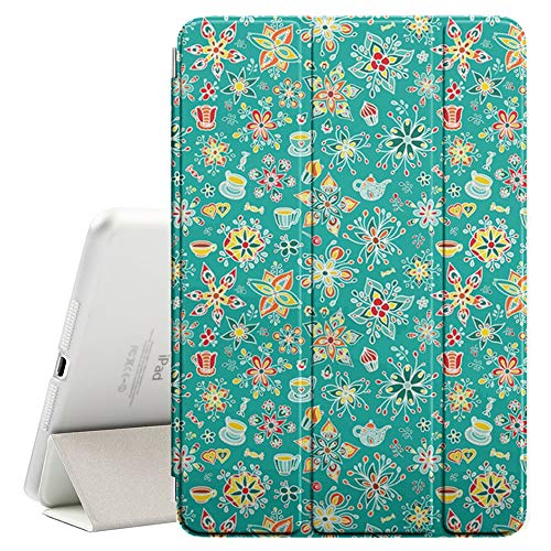 (Compatible with Apple iPad Pro 9.7 Inch (2016) - Leather Smart Cover + Hard Back Case with Sleep/Wake Function (Floral Cups))