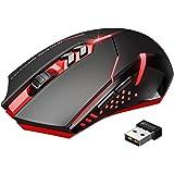 VicTsing Ratón Inalámbrico Para Juegos, Mouse Óptico USB 2.4G, 7 Botones Silenciosos Con 5 DPI Ajustables, Retroiluminación LED Para Reproductor, Oficina, Biblioteca, Hogar, PC, Computadora Portátil (Rojo)