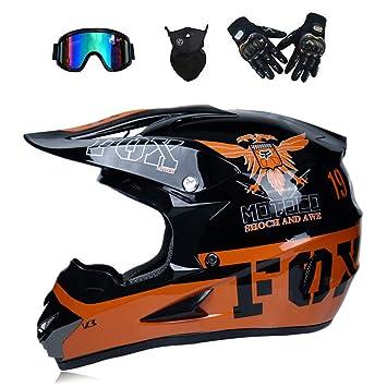 WenYan Motos Motocross Cascos y Guantes y Gafas estándar para niños ATV Quad Bicicleta go Casco de Kart,B,L(56~57cm): Amazon.es: Hogar