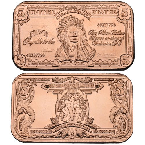 1 Ounce  5 Banknote Copper Bar   999 Purity