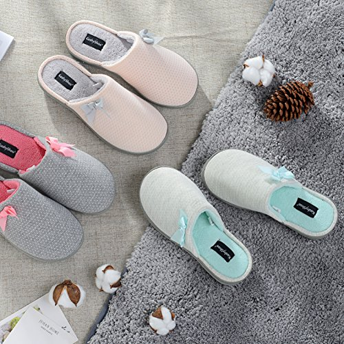 Women Insole Fluffy On Dot KushyShoo Slippers blue Slip Lining Shoes House with Printed Bowknot Memory Gray Foam HwFxdxq