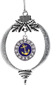 Inspired Silver - Navy Anchor Charm Ornament - Silver Circle Charm Holiday Ornaments with Cubic Zirconia Jewelry