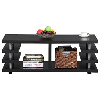 Yaheetech Modern Black Wood Coffee Table Iron Tube Legs Multi Tier Design with Storage Shelf Living Room Furniture