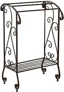 Kings Brand Furniture - Coffee Brown Metal Free Standing Towel Rack Stand with Shelf