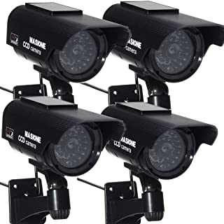 Masione 4 in Pack Waterproof LED Indoor Outdoor Solar Powered Fake Simulated Dummy Security Camera with Blinking Light (Black)