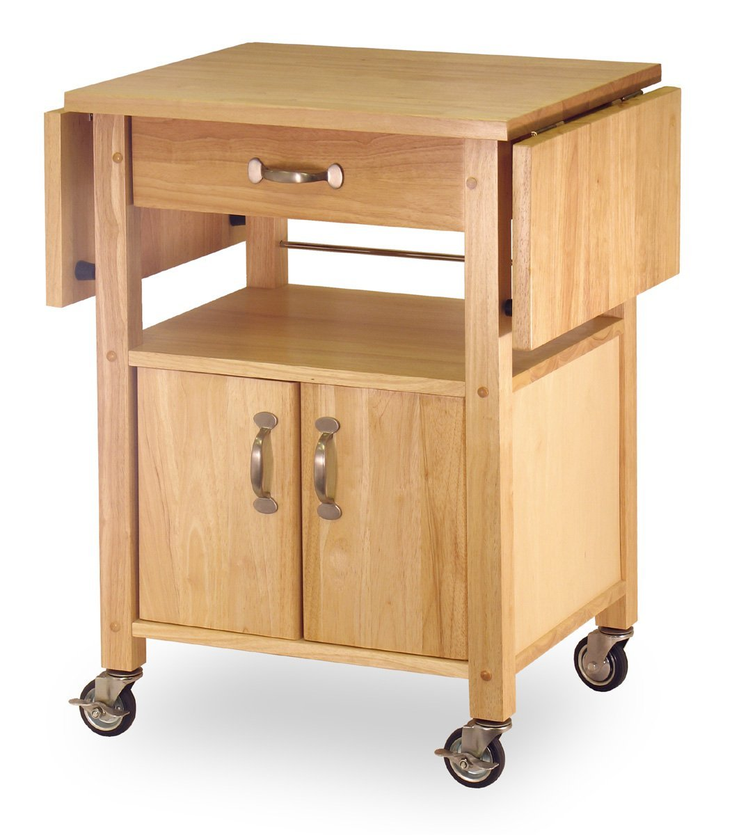 Rolling Wood Drop-Leaf Small Kitchen Cart  45-inch W by 20-inch D by 33-1/4-inch H