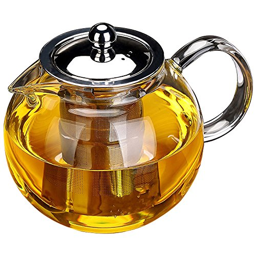TOWA Workshop Glass Teapot with Stainless Steel Infuser and Lid, Microwavable and Stovetop Safe Tea Pot, Great for Flowering Tea and bag & Loose Leaf Tea (44 oz / 1300 ml)