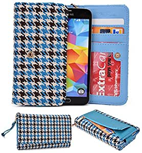NuVur &153; BLUE Multicolored Wallet Case/Woven Pattern/for HTC EVO 3D/CardSlots&Wristlet