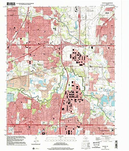 Euless TX topo map, 1:24000 scale, 7.5 X 7.5 Minute, Historical, 1995, updated 2002, 26.9 x 23 IN - - Parks Tx The Arlington