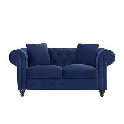 Divano Roma Furniture Classic Modern Scroll Arm Velvet Chesterfield Love Seat Sofa (Blue)