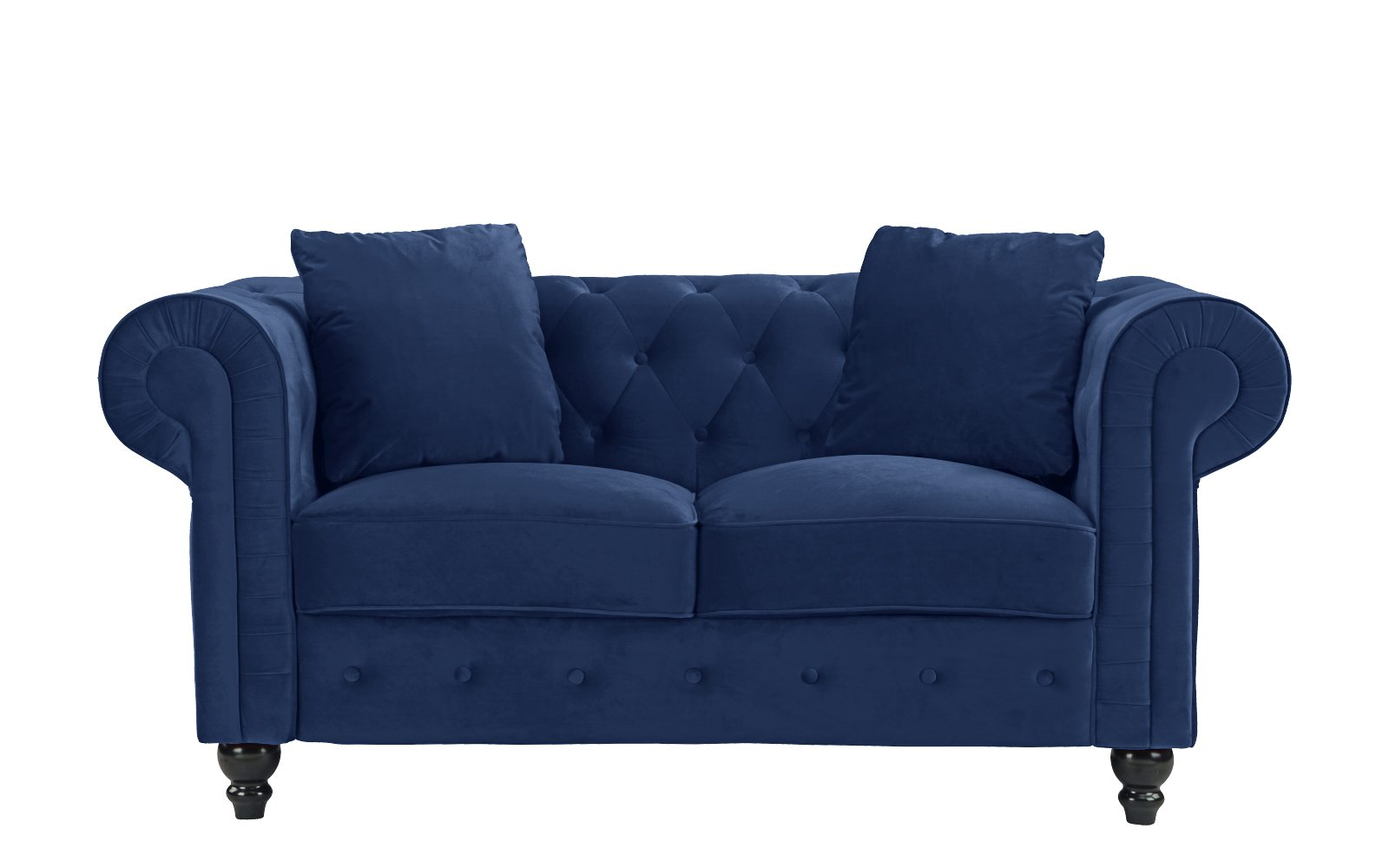 Furniture Classic Modern Scroll Arm Velvet Chesterfield Love Seat Sofa (Blue) - Ultra soft and comfortable chesterfield style love seat with tufted design for that classic and sophisticated look Premium velvet upholstery with overstuffed arms and back rests for comfort, tufted plush arm rests Removable seat cushions with velcro attached to avoid sliding, Victorian style wooden legs. - sofas-couches, living-room-furniture, living-room - 61X3SRZNrLL -