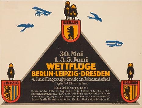 Amazon Com Wettfluge Berlin Leipzig Dresden Vintage Poster Artist Klinger Germany C 1911 12x18 Art Print Wall Decor Travel Poster Posters Prints
