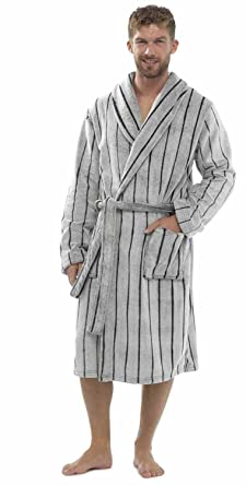 6381dbfc02 Wolf and Harte Men s Striped Fleece Bath Robe Dressing Gown (Slate) LXL