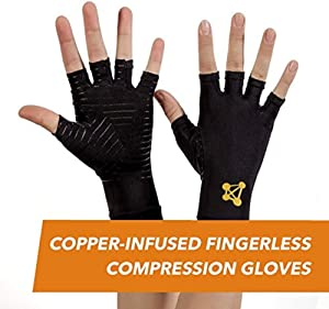 CopperJoint Fingerless Compression Gloves – Copper-Infused Designed to Support Your Hands - Rapid Recovery and Pain Relief, All Lifestyles - Pair