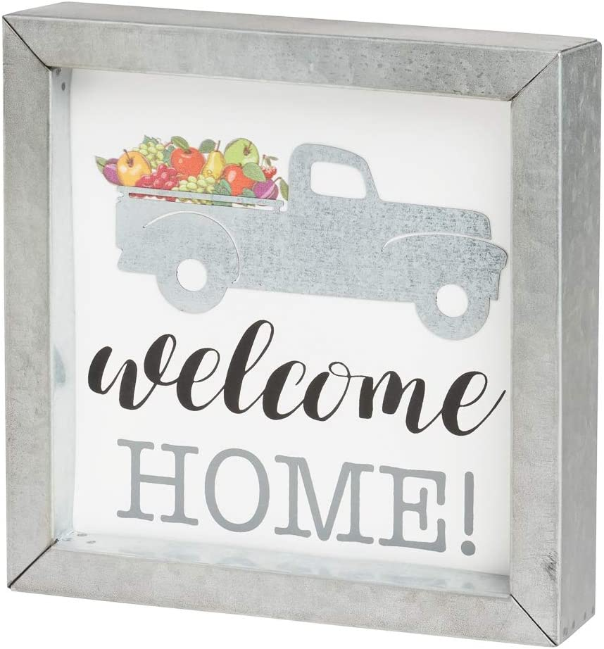 Collins 'Welcome Home' Rustic Galvanized Metal Framed Pickup Truck Sign