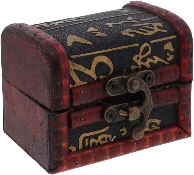 SandT Collection 3 Inch Wooden Keepsake Treasure Chest Trinket Box - Heiroglyphics