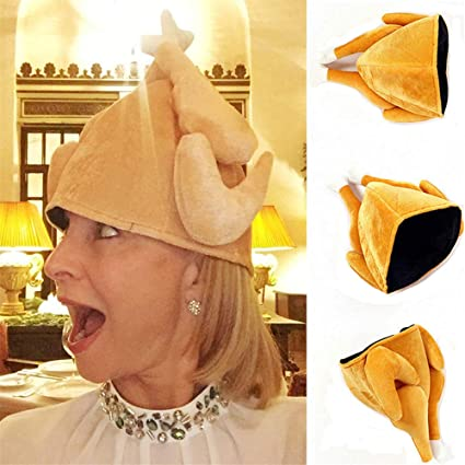 2b4f2ef0d58b3 Hofumix Turkey Hat Plush Roasted Turkey Hats Party Costume Props Christmas  Holiday Plush Drumstick Cap for