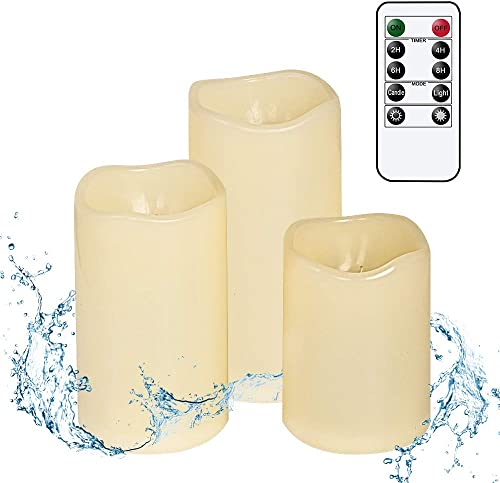 Wondise Outdoor Remote Flameless Flickering Candles with Timer, Waterproof and Heat Resistant, Battery Operated Ivory LED Flameless Candles Warm Light Patio Christmas Decor Set of 3, 3 x 4-6 Inches