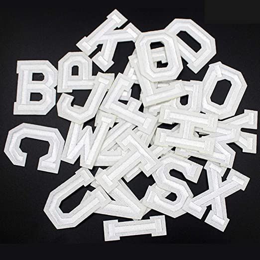 26 PCS Iron on Letters Patches Applique Sew on Patches Black Letter A-Z Patch Alphabet Embroidered Patches DIY Custom Name Decorative Repair Patches for Clothing Hat Shoes Shirts Backpacks