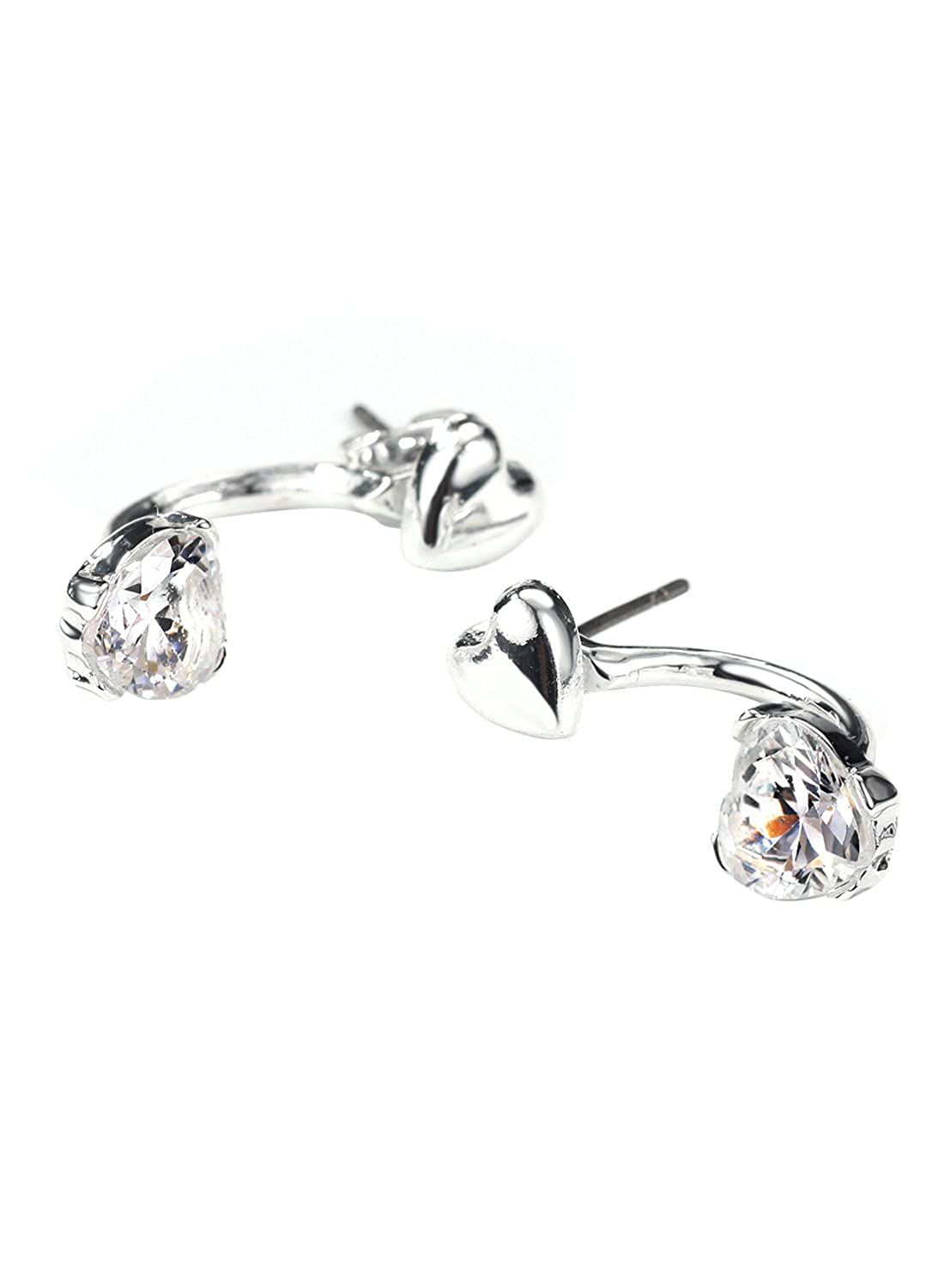 Neoglory Jewelry Silver Color CZ Cubic Zirconia Jacket Earrings for Sensitive Ears AMZ16-5662