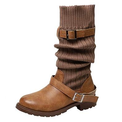 Keilabsatz Freizeit Stiefel Damen Schuhe Rund Zehe Stiefeletten