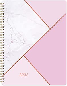 """2021 Planner - Weekly Monthly Planner with Marked Tabs, 8"""" x 10"""", Hardcover with Thick Paper + Contacts + Calendar + Holidays, Jan. - Dec. 2021, Twin-Wire Binding - Pink Marble"""