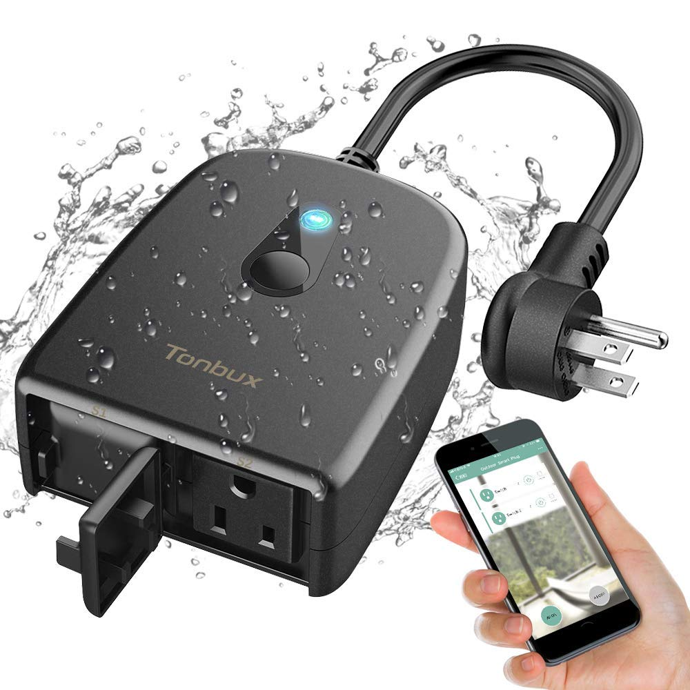 Outdoor Smart Outlet Plug WiFi Smart Socket Compatible with Alexa and Google Home with 2 Wireless Waterproof Individual Remote Control Switches & Timer by Smart Life App via Smartphone TONBUX