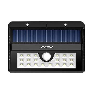 mpow mah bombillas led de lmpara solar de pared para exterior impermeable