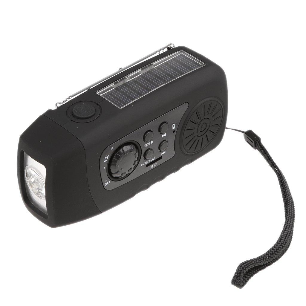 Jili Online Solar Hand Crank AM/FM/NOAA Weather Radio with Flashlight 2000mAh Power Bank Black