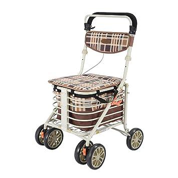 Amazon.com: Carro de la compra resistente con asiento, 4 ...