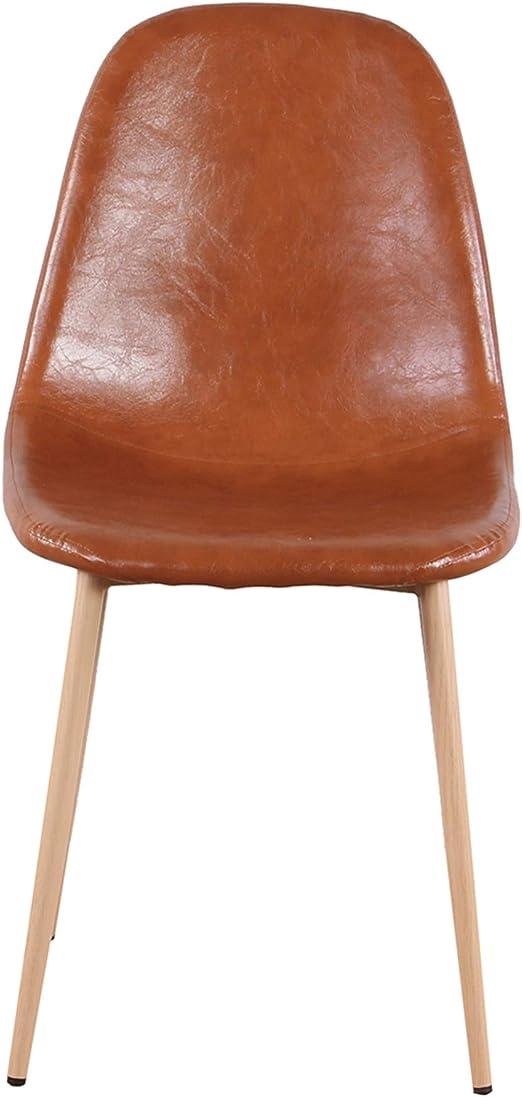 marron ZMALL Lot de 4 chaises lat/érales rembourr/ées en cuir PU avec pieds en m/étal robustes pour la maison la cuisine la table le salon