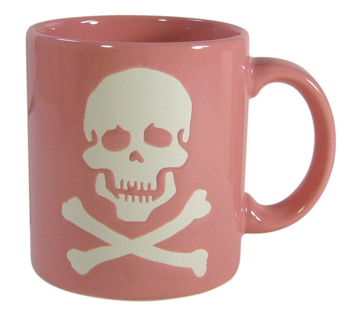 taza calavera rosa
