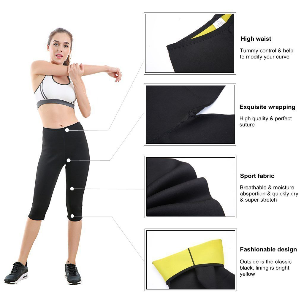 Wishesport Hot Sweat Neoprene Sauna Pants For Weight Loss Tummy Fat Burner Slimming Shapewear Hot Thermo Body Shaper Sweat Tank Top Black (Black, XXX-Large)