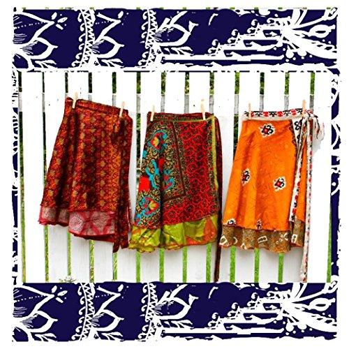 Lot of 3/5 - Wrap-Around Indian Vintage Reversible Sari Magic Knee Length Skirts - 2 Layers - Art Silk (Pack of (Vintage Wrap Around Skirt)
