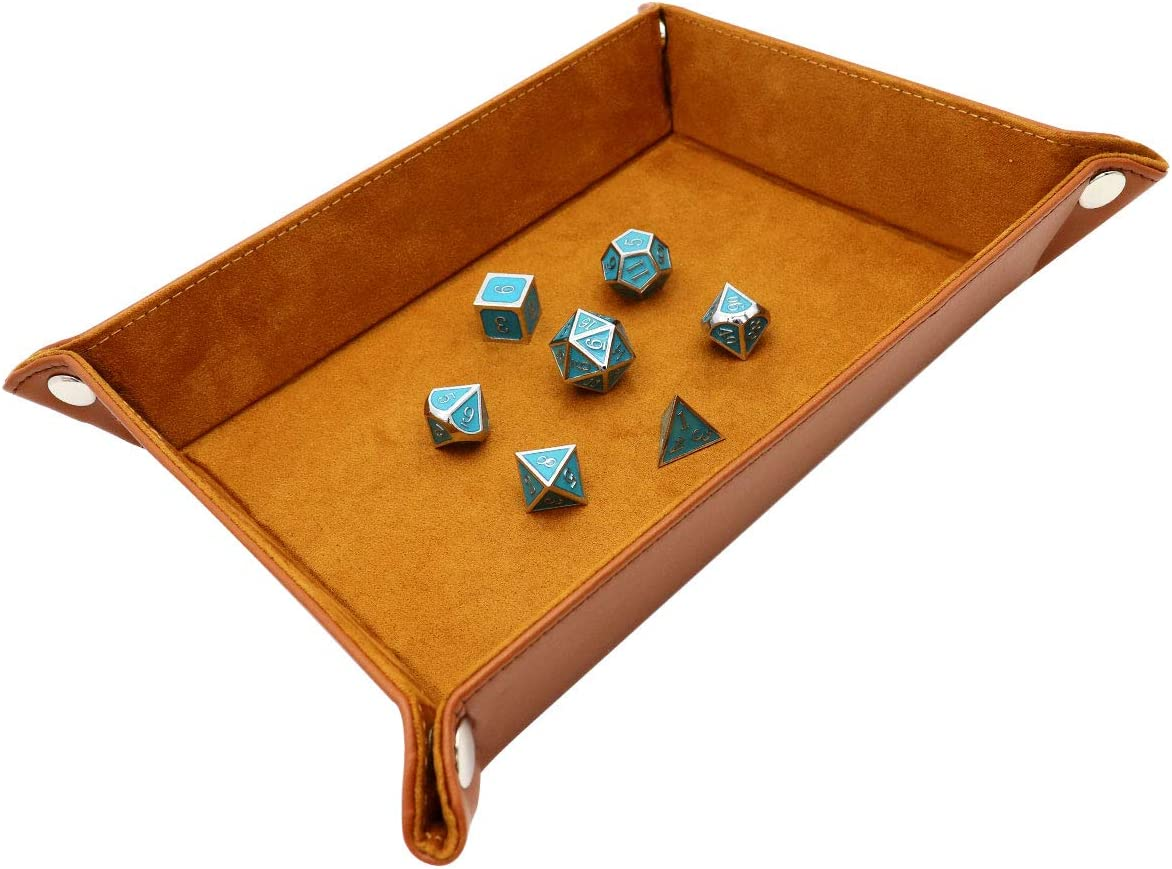 Dice Rolling Tray Holder Dice Mat Portable Folding PU Leather and Velvet Holder Storage Box for RPG DND Table Games HE03BR