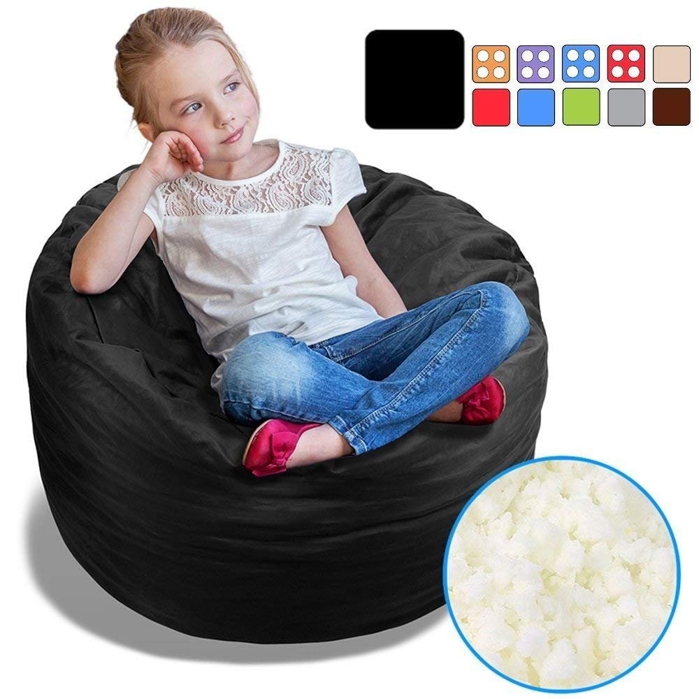 BeanBob Bean Bag Chair (Limo Black), 2.5ft - Bedroom Sitting Sack for Kids w/Super Soft Foam Filling