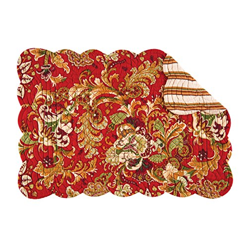 (Set of 4 JOCELYN RED Quilted Reversible Placemat by C&F - Green, Gold, Beige, Red )