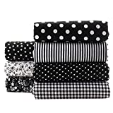 Black Series Floral Cotton Fabric Textile Quilting Patchwork Fabric Fat Quarter Bundles Fabric For Scrapbooking Cloth Sewing DIY Crafts Pillows 50X50cm 7pcs/lot (Black)
