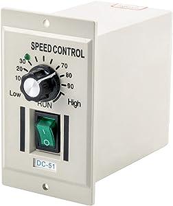 QWORK AC 110V 400W Knob Motor Speed Controller DC 0-90V Variable Adjustable Speed Regulator for 90V DC Motors