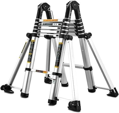 ZAQI Escalera Extensible Escalera telescópica Escalera Profesional Extensible de Aluminio Plegable con Ruedas/Barra estabilizadora - Escaleras telescópicas Multiusos, Carga 150 kg: Amazon.es: Hogar