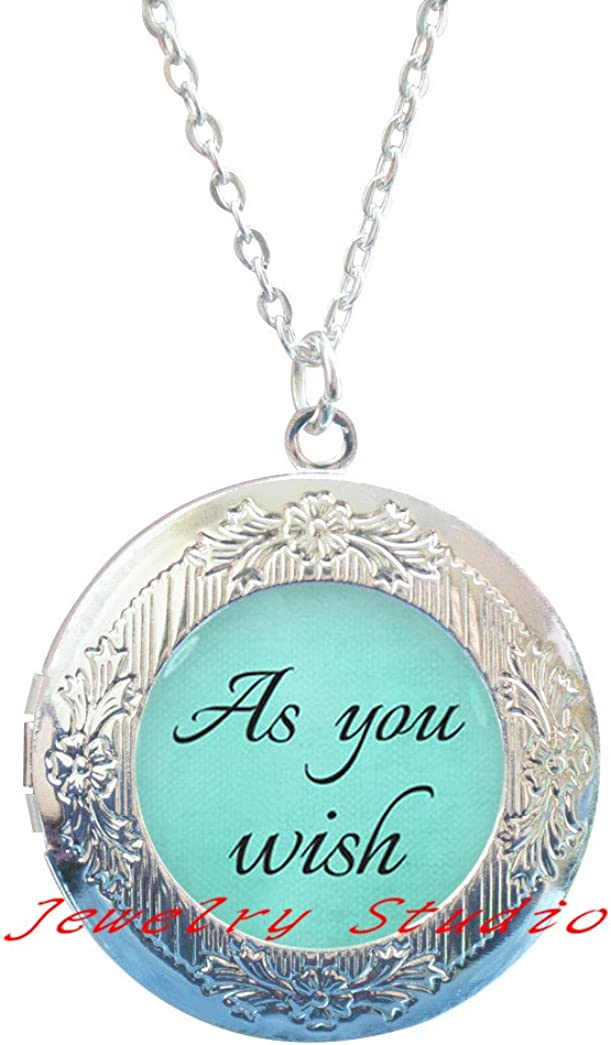 quote Locket Pendant Locket Necklace As You Wish Locket Necklace jewelry,As You Wish photo Locket Pendant art Locket Pendant photo jewelry art jewelry glass jewelry-HZ00240
