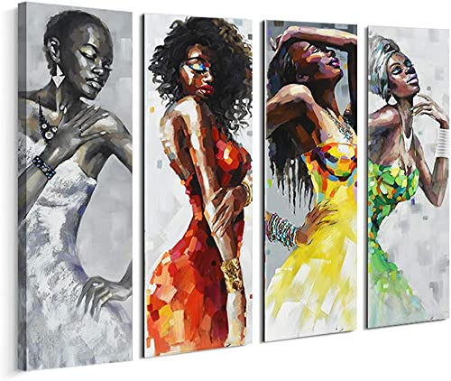 Artinme Framed African American Black Art Dancing Black Women In Dress Wall Art Painting on Canvas Print Wall Picture