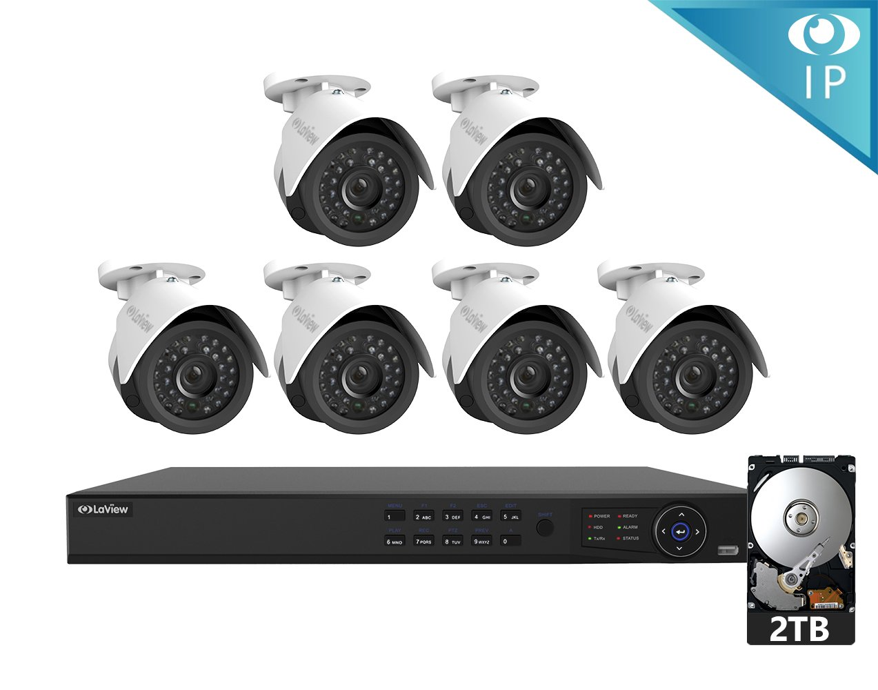 LaView 6 1080P IP Camera Security System, 8 Channel 1080P IP PoE NVR w/2TB HDD and 6 1080P 2MP White Bullet Surveillance Camera Kit by LaView
