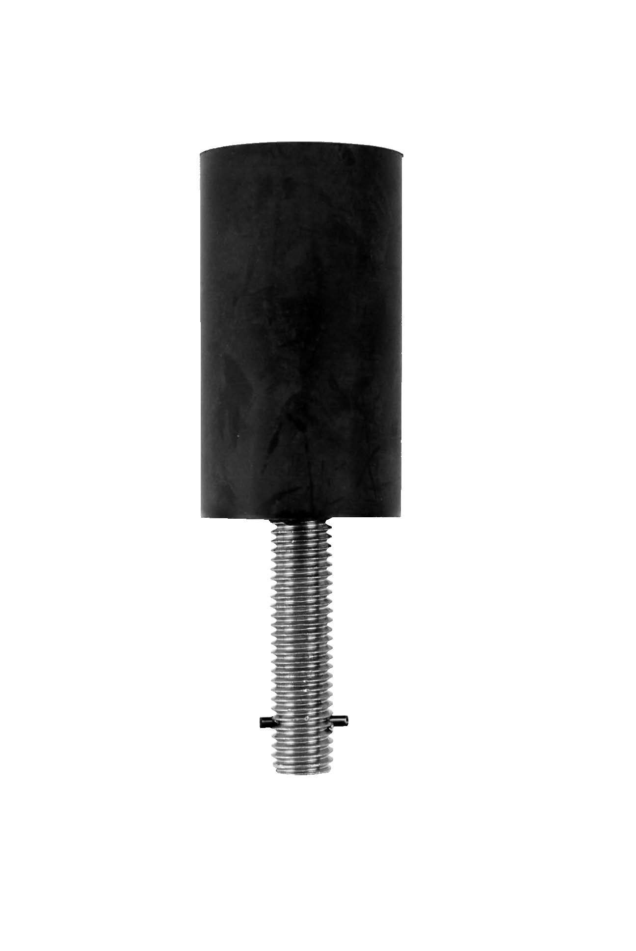 Don-Jo 1463 Detention Stop with 1/2'' x 2-1/2'' Mounting Bolt, 6'' Height, 3-1/2'' x 2'' Base, Black (Pack of 10)