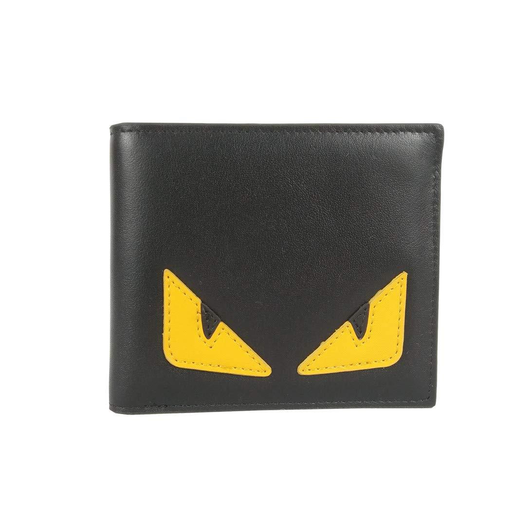 メンズ ブラックレザー エリートカーフ 二つ折り財布 エリートカーフ バッグ バグズ ピンクのレザーライニング 小物 (黒) B07L65V22M ブラック